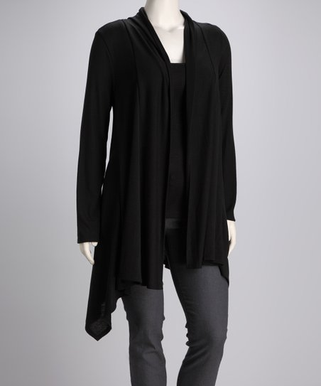 Black Jasmin Open Cardigan - Plus