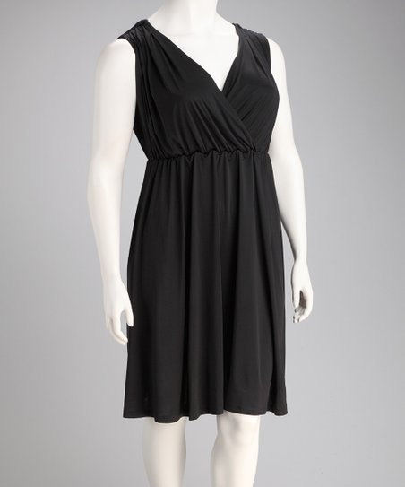 Black Monaco Plus-Size Surplice Dress