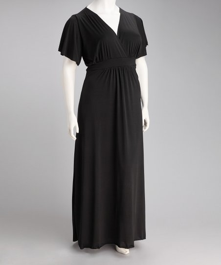 Black Paris Angel-Sleeve Maxi Dress - Plus
