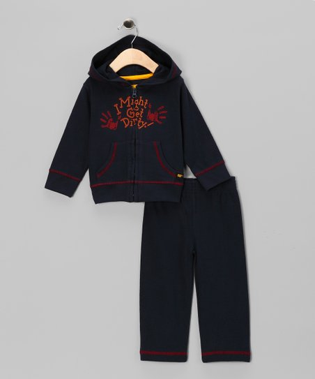 Navy 'Get Dirty' Zip-Up Hoodie & Pants - Infant