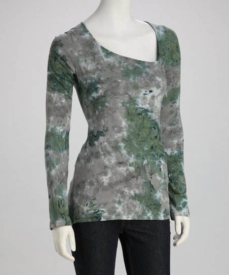 Green Marble Tie-Dye Long-Sleeve Tee