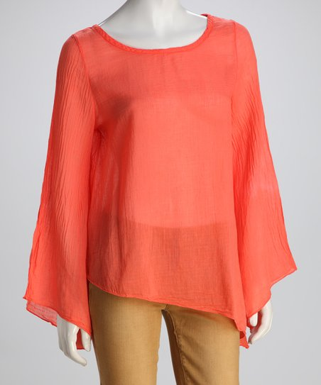 COIN 1804 Coral Sheer Asymmetrical Hem Top