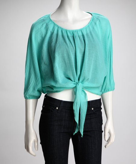 COIN 1804 Aqua Sheer Front-Tie Top