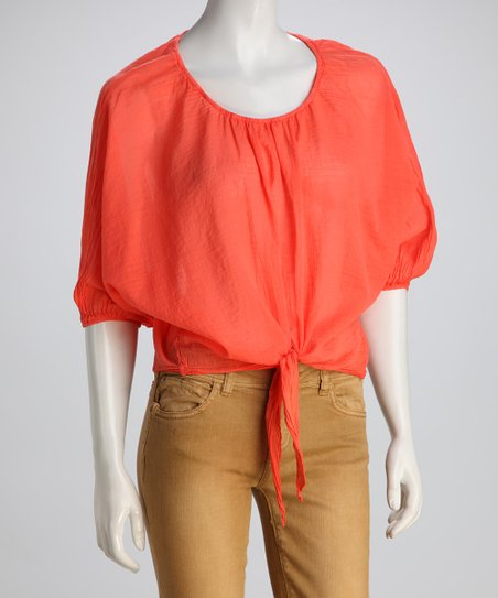 COIN 1804 Coral Sheer Front-Tie Top
