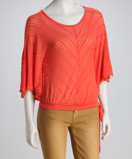 COIN 1804 Coral Side-Tie Cape-Sleeve Top