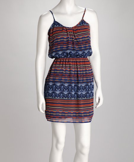 Blue & Orange Aztec Dress