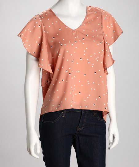 Peach V-Neck Ruffle Top