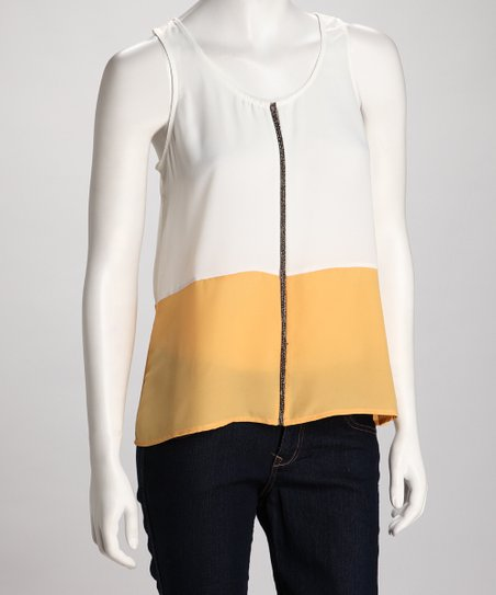 Ivory & Yellow Color Block Tank