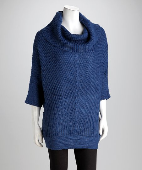 Blue &amp; New Navy Poncho Sweater