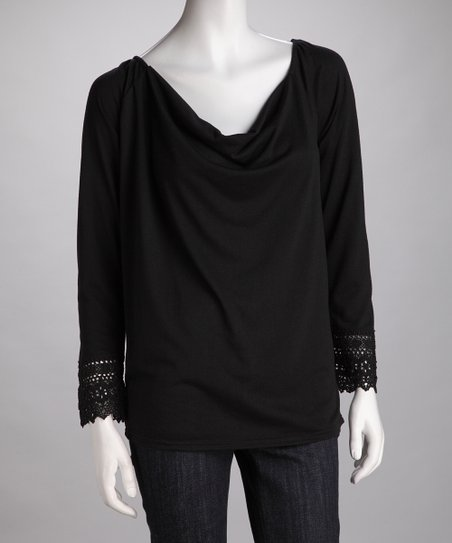 Black Drape Lace Long-Sleeve Top