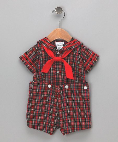 Red & Green Plaid Top & Shorts - Toddler