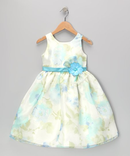 Blue Flower Organza Dress - Toddler & Girls