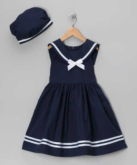 Navy Dress & Beret - Infant, Toddler & Girls