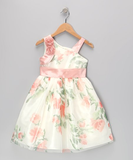 Pink Flower Asymmetrical Dress - Girls