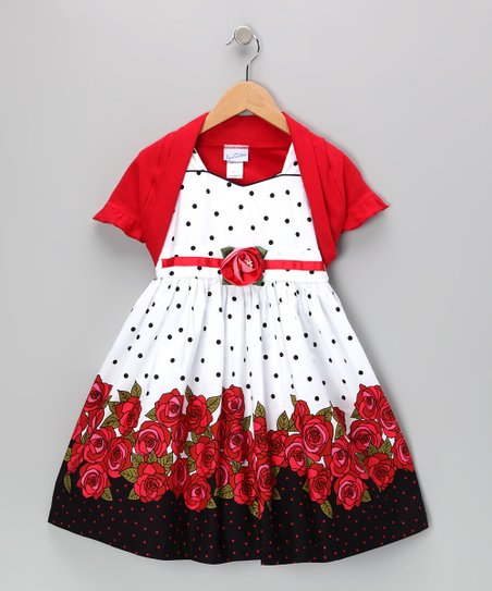 Red Polka Dot Rose Dress & Shrug - Toddler & Girls