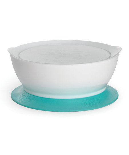 Blue 12-Oz. Covered No-Spill Suction Bowl - Set of Two