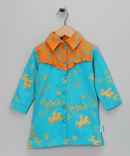 Orange & Turquoise 'Rodeo' Dress - Girls