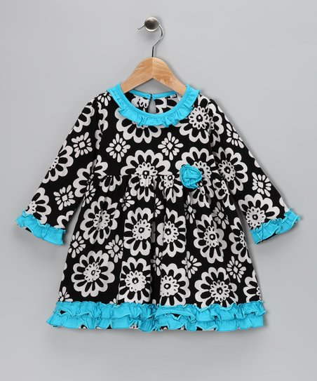 Black Flower Ruffle Dress - Toddler & Girls