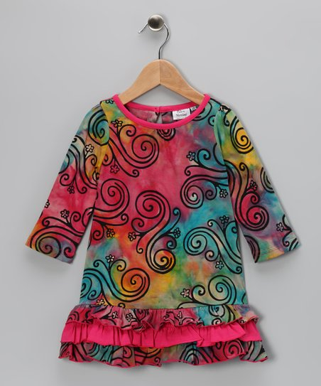 Rainbow Swirl Ruffle Dress - Toddler & Girls