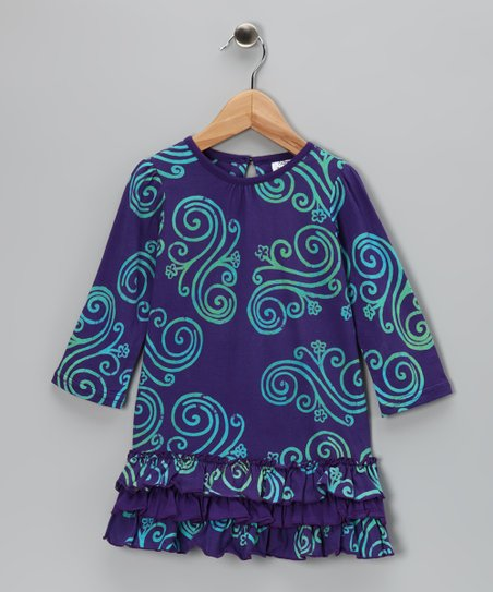 Purple & Blue Swirl Ruffle Dress - Toddler & Girls