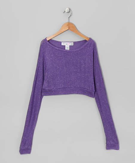 Purple Metallic Long Sleeve Crop Top