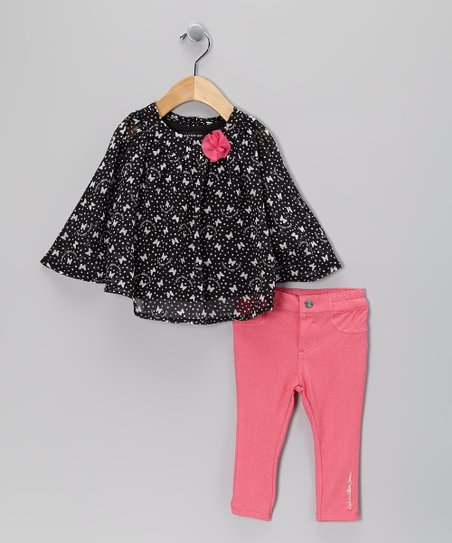 Black Butterfly Poncho &amp; Pink Jeggings - Infant