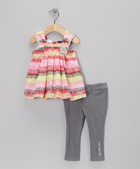 Pink & Yellow Ruffle Tunic & Gray Jeggings - Infant
