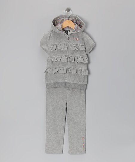 Light Gray Tiered Ruffle Zip-Up Hoodie & Pants - Infant