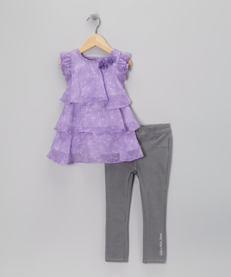 Purple Ruffle Tunic & Jeggings - Infant