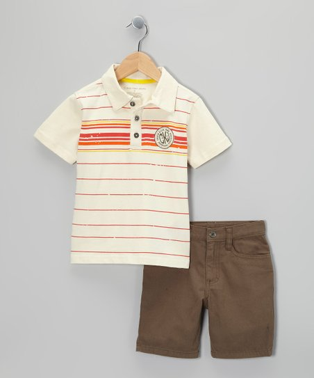 White & Red Stripe Polo & Shorts - Infant