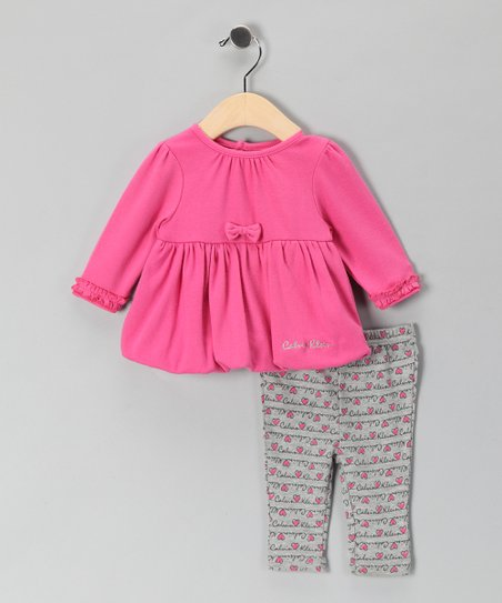 New York-Designed Pink Bubble Tunic & Gray Leggings - Infant