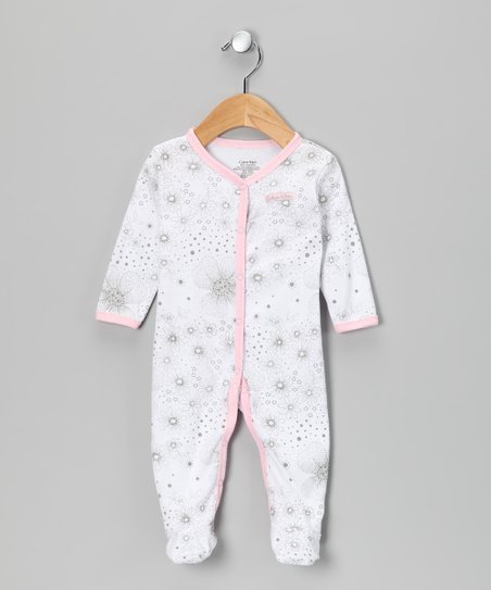 Calvin Klein Gray & Pink Floral Footie - Infant