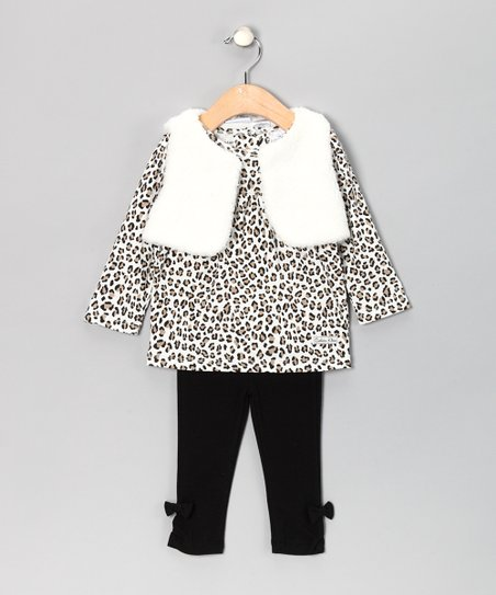 Calvin Klein White Leopard Faux Fur Vest Set - Infant