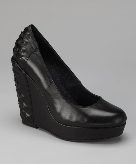 Black Hillary Platform Wedge Pump