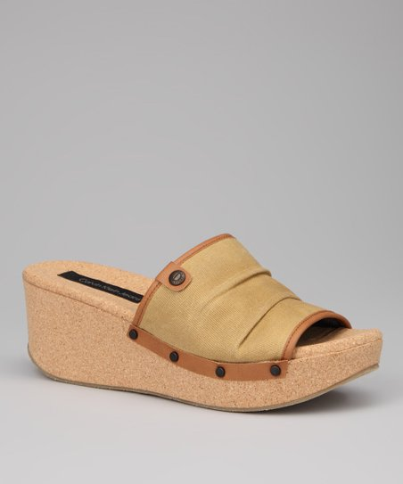 Khaki Yvana Wedge Slide