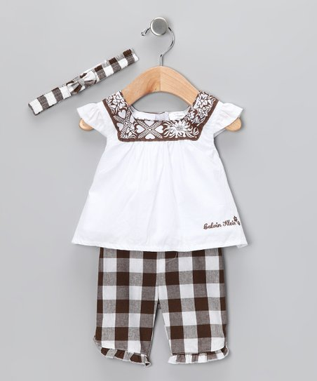 White &amp; Brown Gingham Pants Set	