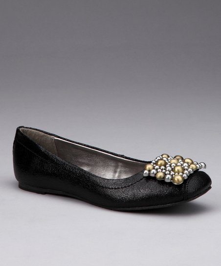 Black Textured Tiffany Ballet Flat