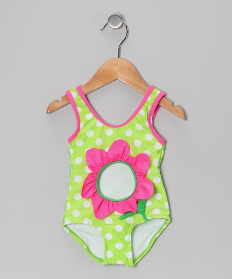 Green Polka Dot Flower One-Piece - Toddler