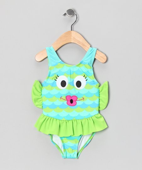 Green & Blue Fish One-Piece - Toddler & Girls