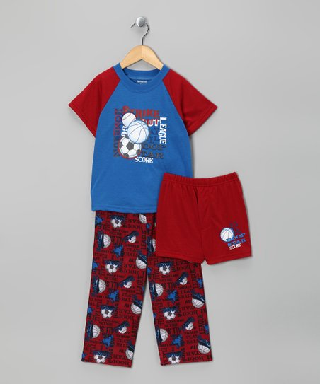 Red & Blue Sport Pajama Set - Toddler & Boys
