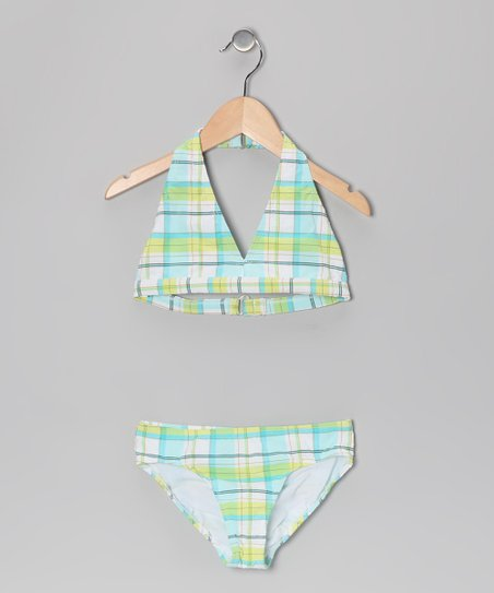 Turquoise Plaid Halter Bikini - Girls