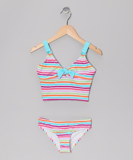 Blue Pastel Stripe Tankini - Girls