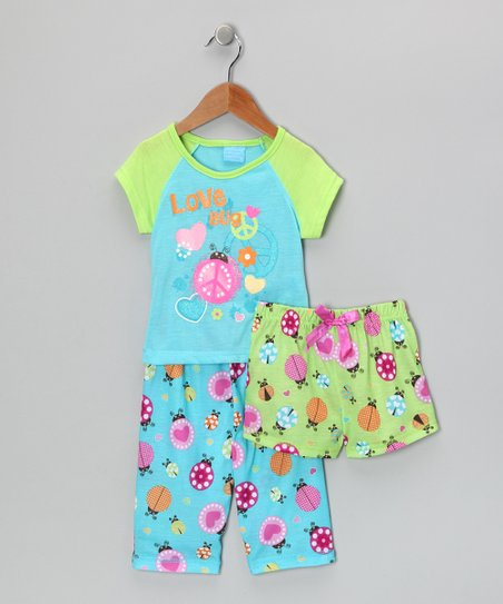 Turquoise & Green 'Love Bug' Pajama Set - Toddler