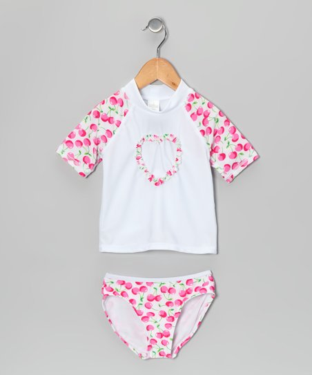 White & Pink Cherry Rashguard Set - Girls