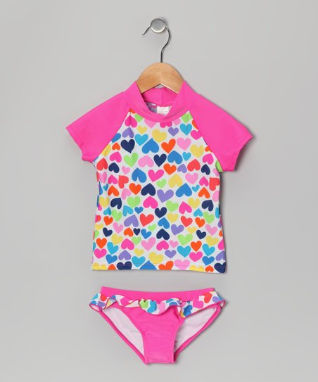 Pink Rainbow Heart Rashguard Set - Girls