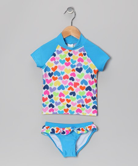 Blue Rainbow Heart Rashguard Set - Girls