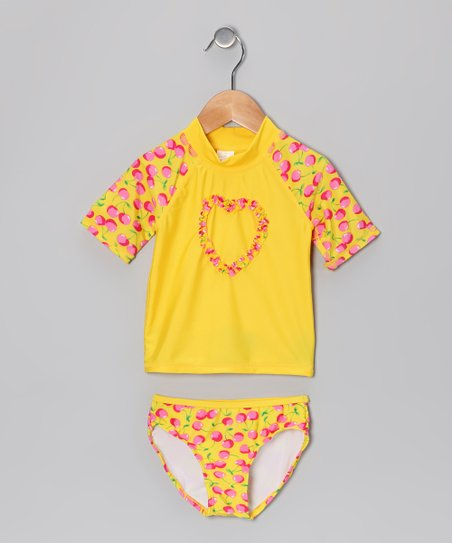 Yellow & Pink Cherry Rashguard Set - Girls