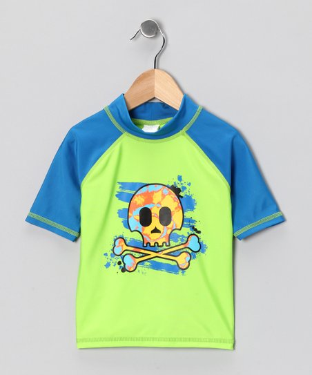 Green Pirate Skull Rashguard - Toddler & Boys
