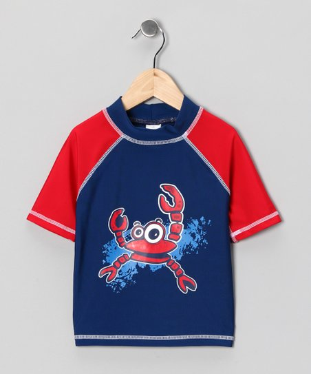 Blue & Red Crab Rashguard - Boys