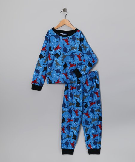 Candlesticks Blue Dino Flannel Pajama Set - Toddlers